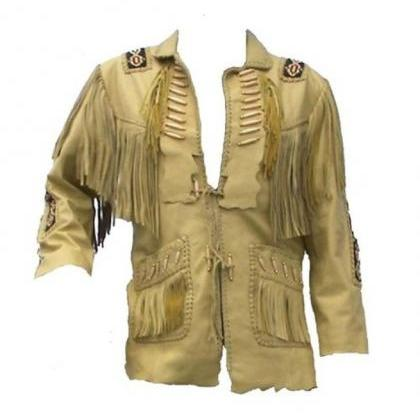 Mens Suede Leather Jacket Western W..