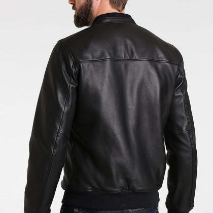 Black Bomber Leather Jacket for Men..