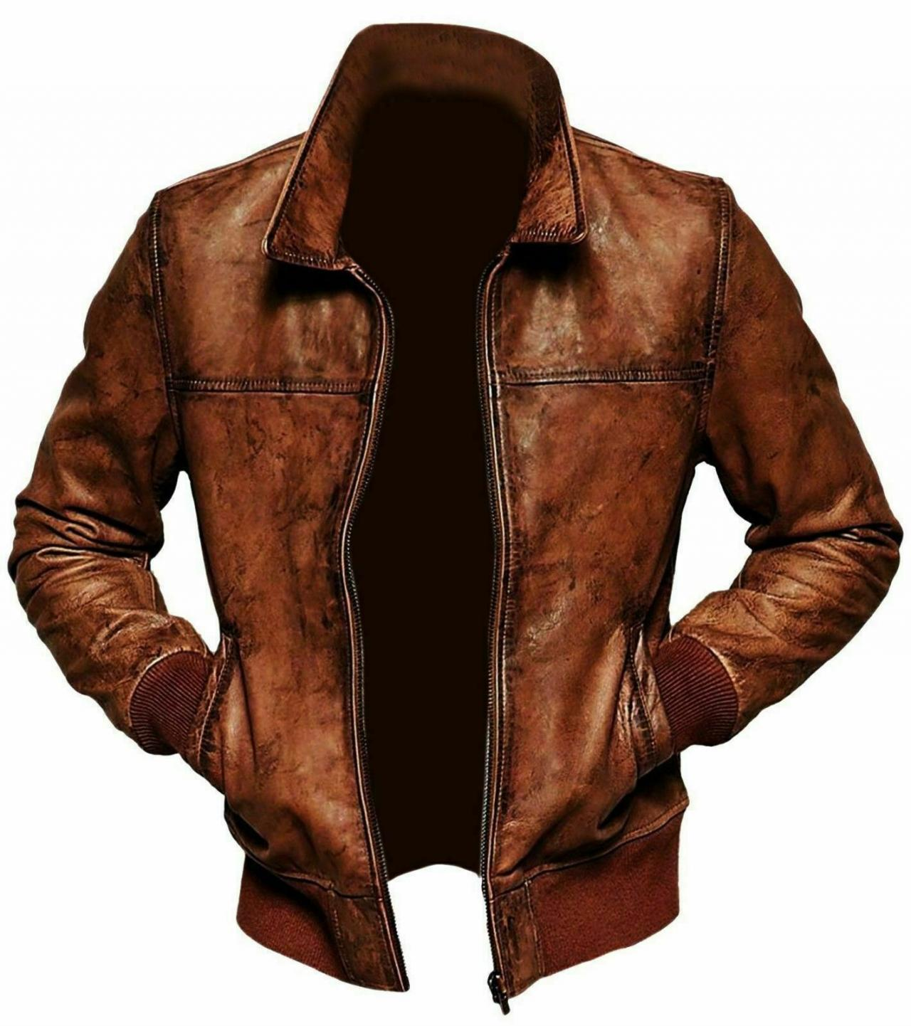 Mens Biker Motorcycle Vintage Distressed Brown Bomber Winter Leather Jackets