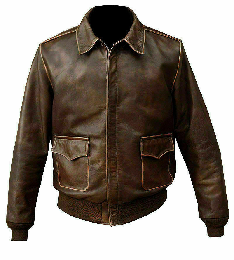 Indiana Jones Riders Of The Ark Harrison Ford Vintage Brown Leather Jacket For Men 112