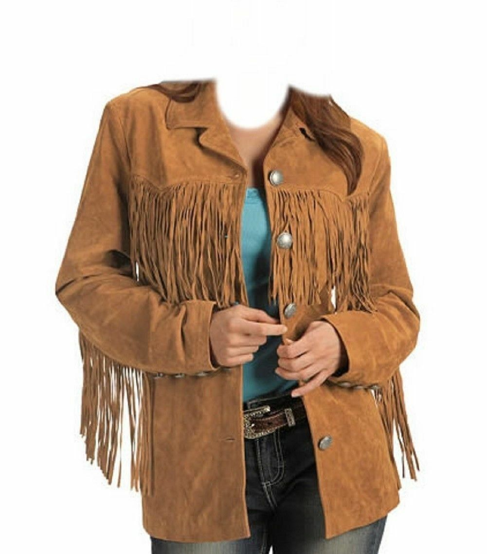 Woman Brown Western Wear Cow Lady Suede Leather Jacket Native American Fringe