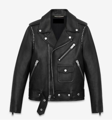 New Men's Black Sheep Leather Studded Jacket All Size Chest And Side Pocket Jacket