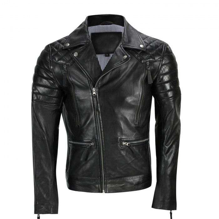 Men,s Black Sheep Leather Vintage Style Biker Fashion Casual Leather Jacket-