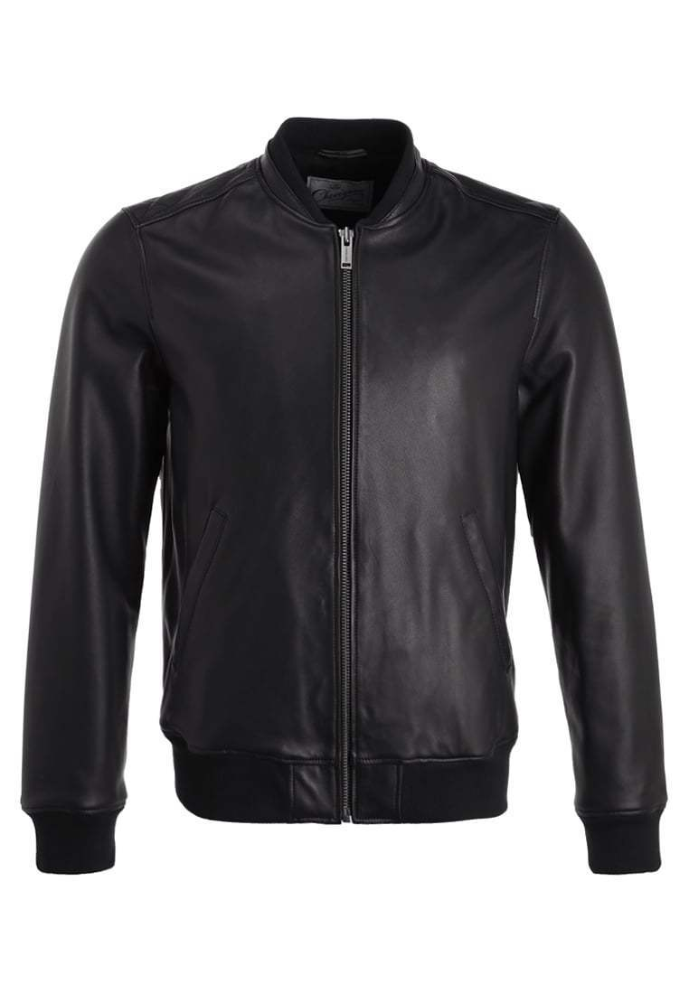 Black Bomber Leather Jacket for Men Flight Jacket Size S M L XL XXL Custom Made