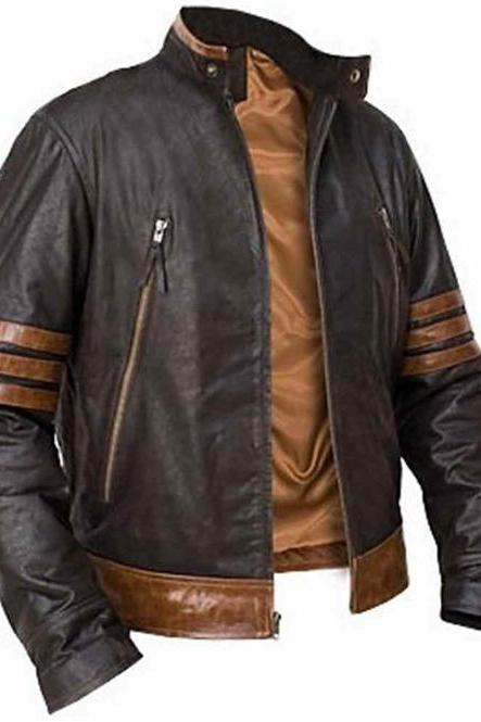 Men's Biker Wolverine Leather Jacket, Black Brown Strips Cafe Racer Leather Jacket