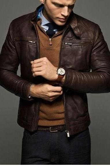 Men's Slim fit leather jackets, Men brown fashion biker designer leather jacket