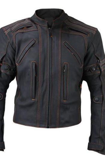 New Mens Vulcan Street VTZ Full Black Motorbike Orange Stitching Leather Jacket
