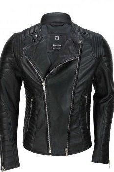 Men Black Cafe racer leather jacket for men, side Zipper Biker genuine leather jacket