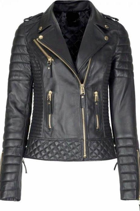 Women's Genuine Lambskin Leather Slim fit Ladies Motorcycle Biker Jacket2