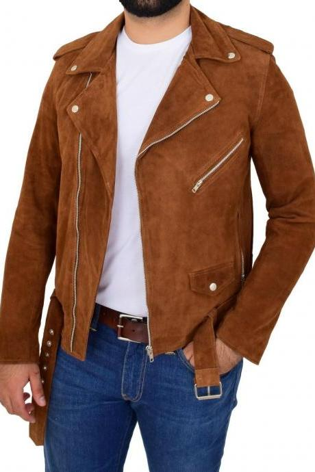 Nick Jopnes Suede Leather Brando Style Suede Leather Jacket Men