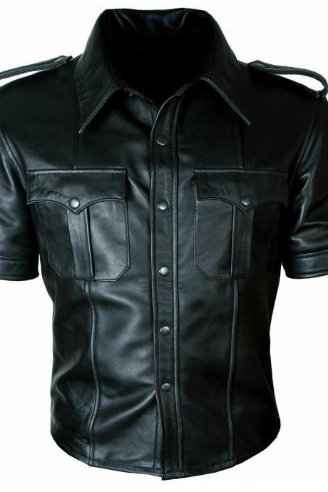 Men's Real genuine Leather Police Uniform Shirt Sexy Short Sleeve Leather Shirt2