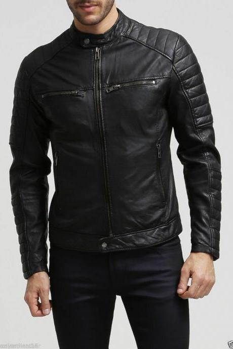Men's Motorcycle Stylish slim fit Genuine Lambskin Real Leather Biker Jacket