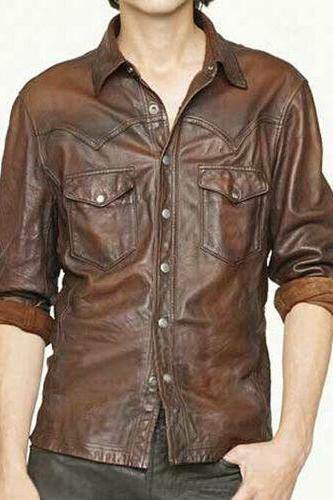Men's Leather Shirt Genuine Lambskin Soft Basic Vintage Jacket Biker Slim Fit