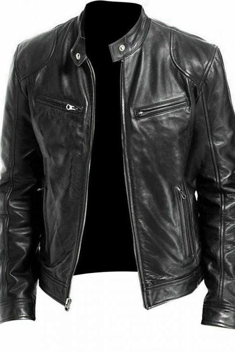 Men Vintage Slim fit Biker Brando Motorcycle Black Quality Leather Jacket