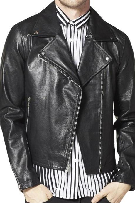 Handmade Mens Fashion Genuine Leather Biker Jacket, Black Leather Jacket for Mens