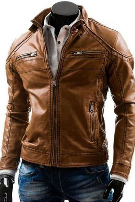 Men's Motorcycle Stylish Brown slim fit Genuine Lambskin Real Leather Biker Jacket
