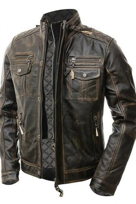 Cafe Racer Mens Multi Pocket Vintage Motorcycle Distressed Biker Brown Real Leather