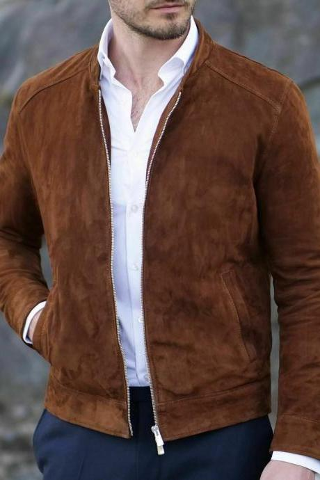 Mens Fashion brown Suede biker Jacket, Mens casual Suede Jacket, Men jackets