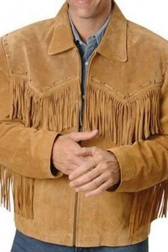 Men Simple Style Western biker Leather Jacket Tan color Fringes Jacket for Mens