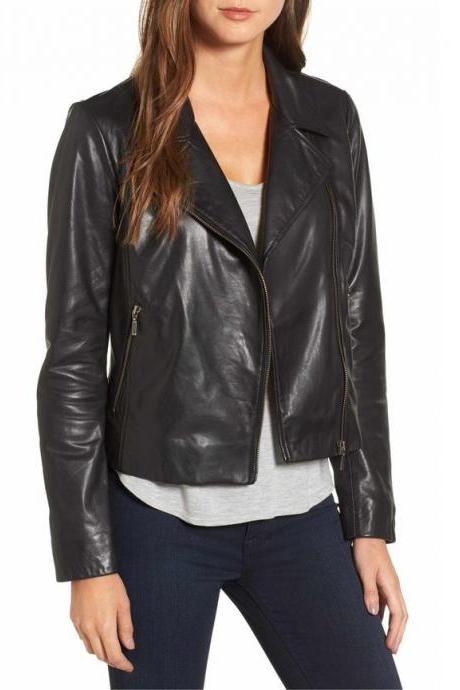 Women Black Wide Collar Leather Jacket, Womens Fashion Leather Jacket