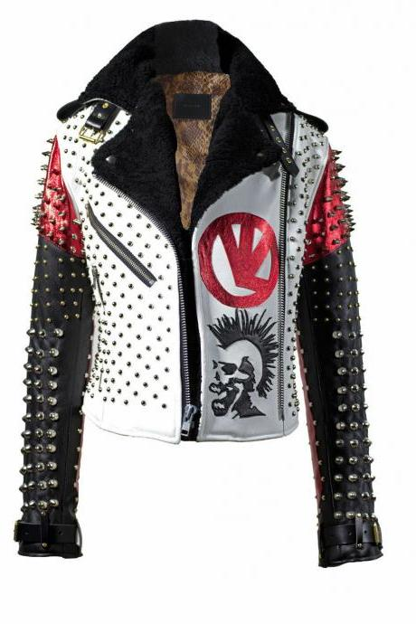 MENS HANDMADE REAL SOFT LEATHER PUNK STYLE ROCK STUDDED BIKER JACKET CUSTOM SIZE