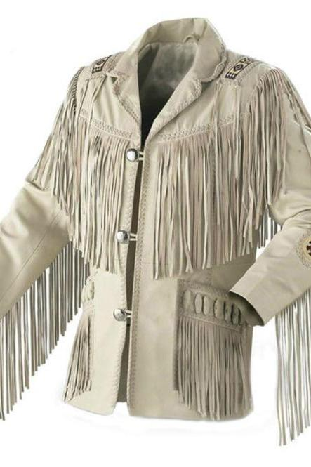 Western Men Cowboy Suede Jacket,Men White Suede Leather Jacket With Fringes