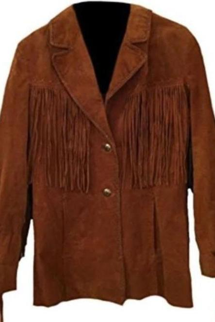 Western Cowboy Brown Suede Leather Leather, Cowboy Jacket, Fringe Jacket Men