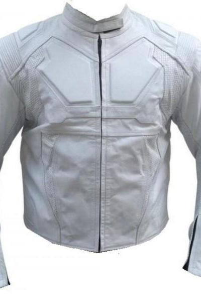 Technic Mercury Motorcycle Leather Jacket front Style White Leather Jacket