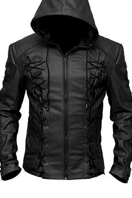 Roy Harper Black Arrow Jacket, Men Leather Jacket Celebrity Jackets For Men