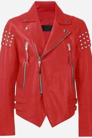 Red Genuine Leather Jacket Silver Studs On Shoulders Brando Style For Men