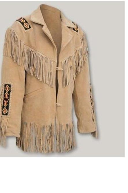 rebelsmarket_mens_suede_leather_cowboy_style_western_wear_native_fringe_american_jacket