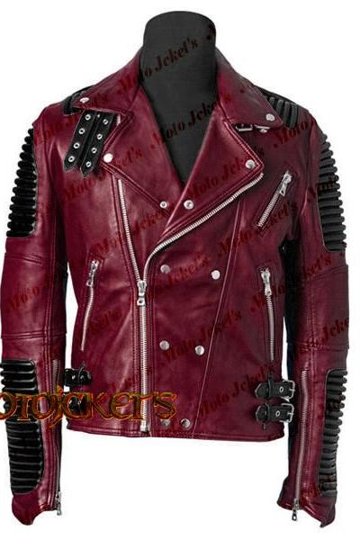 Men Burgundy Cafe racer leather jacket for men, side Zipper Biker genuine leather jacket