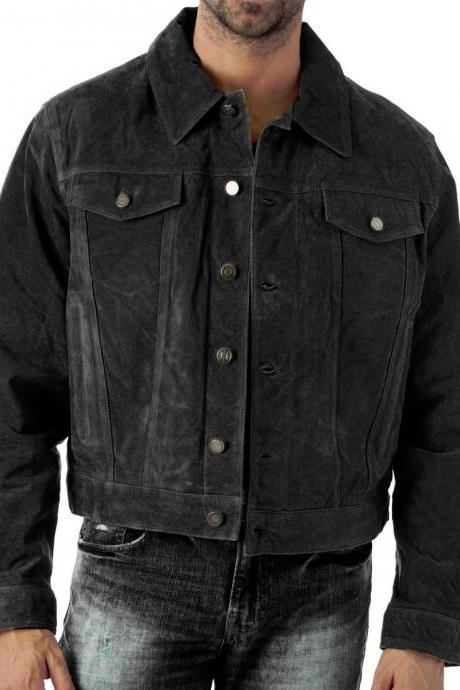 Men,s Western Jeans Style Black Suede biker Jacket, Men Shirt Style Men Jacket,