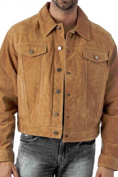 Men,s Western Jeans Style Tan Suede biker Jacket, Men Shirt Style Men Jacket,