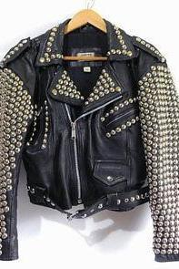 New Mens Full Black Brando Punk Silver Spiked Studded Cowhide Leather Jacket2