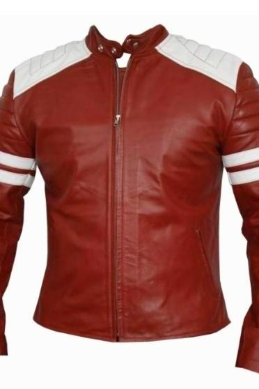 Men's Tyler Durden Leather Jacket, Red Color, White Strips Cafe Racer Leather Jacket