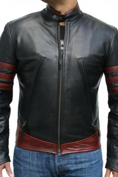 Men's Motorcycle Stylish slim fit Genuine Lambskin Real Leather Black With Red Strips Biker Jacket