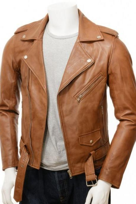 Men,s Tan Sheepskin Leather Motorcycle Biker Jacket,, Men,s Jackets