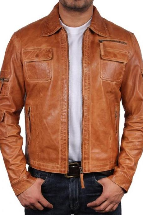 Men's Tan Leather Jacket, Biker Leather jacket, Fashion Genuine Lambskin JAcket2