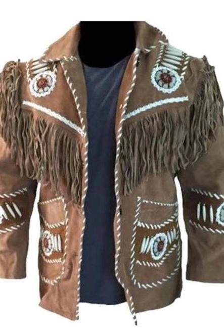 Men,s Suede Leather Jacket Western Wear Cowboy, Cowboy Fringe Leather Jacket,