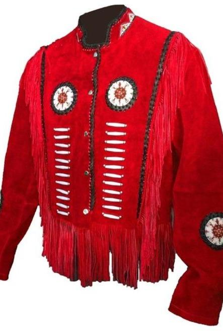 Men's Suede Leather Red Jacket Western Wear Cowboy Coat Fringe Bead,Jacket