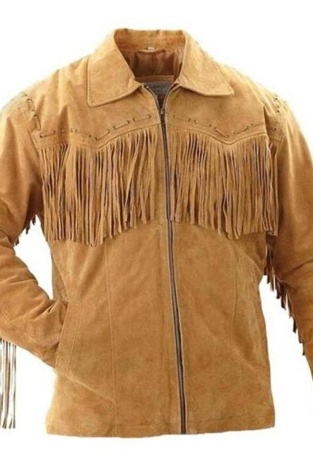 Men,s Suede Leather Jacket Cowboy, Men Beige Jacket, Fringes Jacket