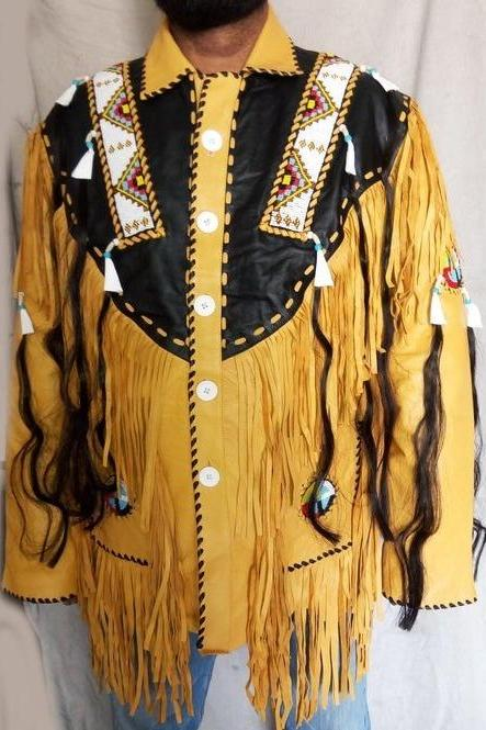 Men,s Leather Fringes Jacket,Black And Beige Cowboy Stylish Leather Jacket