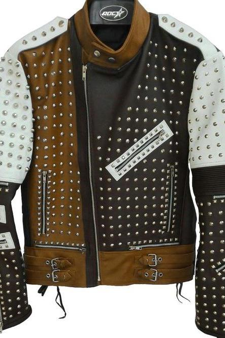 Men's Silver Studded Leather Jacket Men Black White Brown Leather Jacket