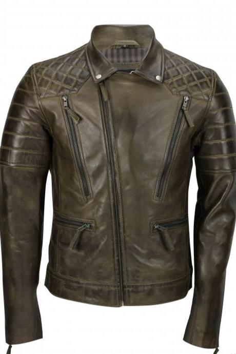Men,s Brown Sheep Leather Vintage Style Biker Fashion Casual Leather Jacket-