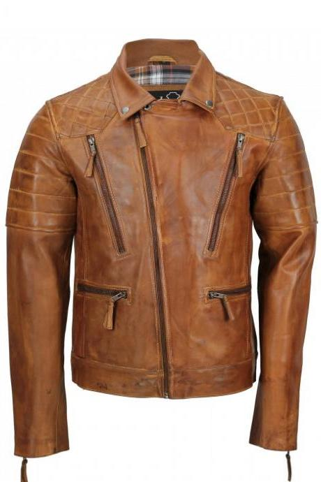 Men,s Tan Sheep Leather Vintage Style Biker Fashion Casual Leather Jacket