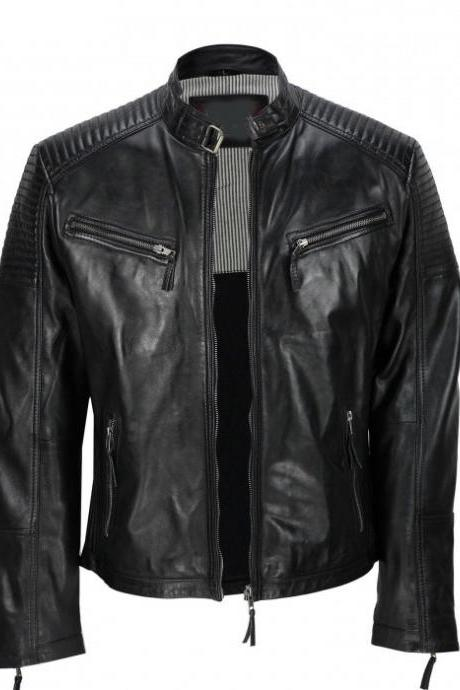 Men,s Black Vintage Biker Style Waxed Sheepskin Fashion Jacket