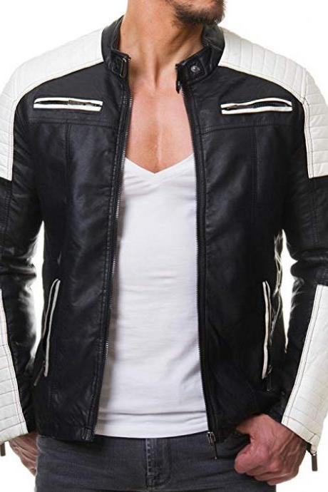 Men,s Black And White Vintage Biker Style Waxed Sheepskin Fashion Jacket