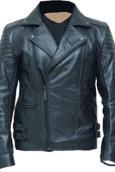Men,s Black Biker Sheep Leather Vintage Style Fashion Casual Leather Jacket-