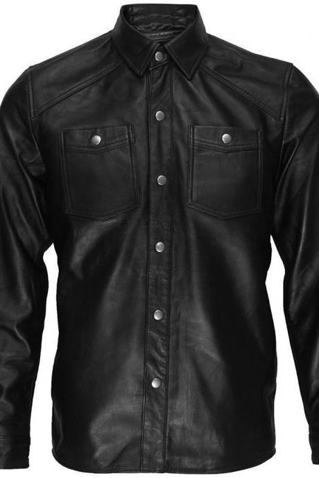 Black Lambskin Leather Collared Lightweight Jacket Over Shirt,Men genuine leather jacket